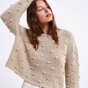 Zara knit pom pom sweater bobble knit